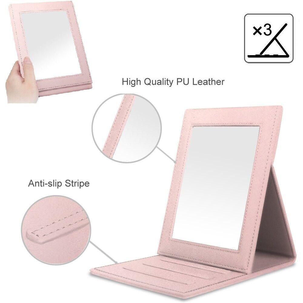 portable pu leather folding vanity mirror tabletop