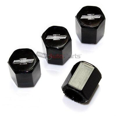 (4) Chevy Silver Bowtie Logo Black ABS Tire/Wheel Stem Air Valve Car Truck Caps