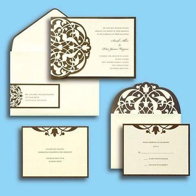 240 Customizable Invitations Kit: Damask Ivory/Brown Flourish 8(30-Count Boxes)