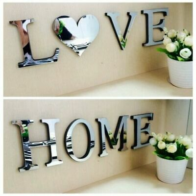 Home Decoration - 4 Letters Love Home Furniture Mirror Tiles Wall Sticker Self-Adhesive Art Decor
