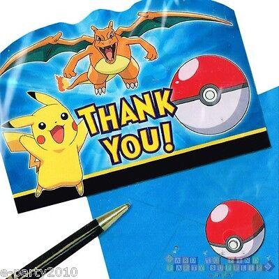 POKEMON Pikachu & Friends THANK YOU NOTES (8) ~ Birthday Party Supplies Cards - Pokemon Thank You