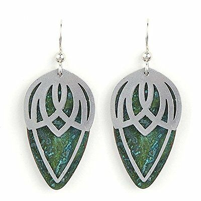 Jody Coyote Earrings JC0104 Sonic SON-0116-03 silver green patina dew drop