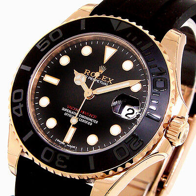 UNWORN ROLEX YACHTMASTER 37 mm EVEROSE PINK ROSE GOLD 268655 OYSTERFLEX BLACK