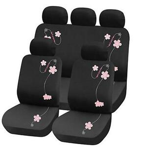 Truyoo rose fleur 9pc voiture universel v hicule housse de for Housse voiture rose