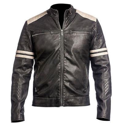 NEW Men's Leather Jacket Black Slim Fit Biker Vintage Motorcycle Cafe Racer Wholesale Leather Biker Jacket