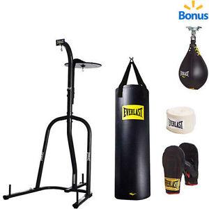 Everlast Dual Station Heavy Bag Stand &100-lb. Kit and bonus Speedbag