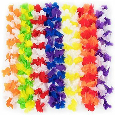 Party Supplies Hawaiian Lei Flower Necklaces, Bulk 144-pack