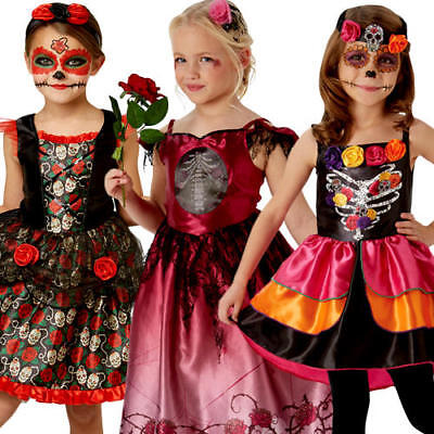 Day of the Dead Girls Fancy Dress Halloween Spooky Skeleton Childs Kids - Spooky Kids Halloween Costumes
