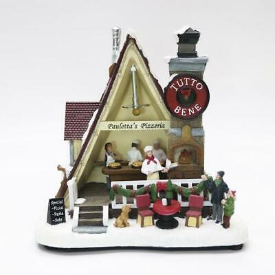 "9"" LED Pizzeria Fun Christmas Musical Lighted Village Building Holiday Decor"