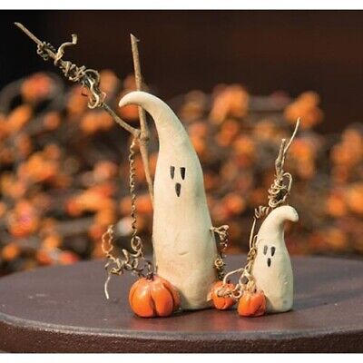 Set of 2 Mommy & Baby Ghosts Pumpkin Resin Fall Halloween