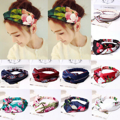 Women Ladies twist knot headband elastic head wrap turban hair band flower New (Headband Flowers)