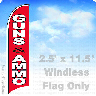 Guns Ammo - Windless Swooper Feather Flag Banner Sign 2.5x11.5 - Rb