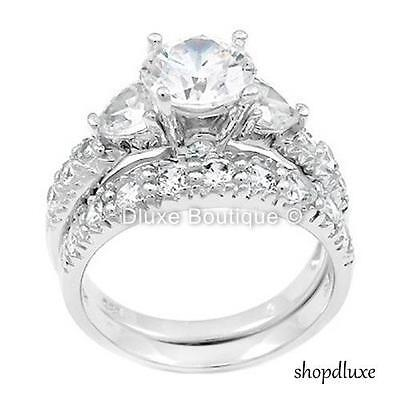 4.15 CT ROUND CUT CZ .925 STERLING SILVER WEDDING RING SET WOMEN'S SIZE 4-11 1