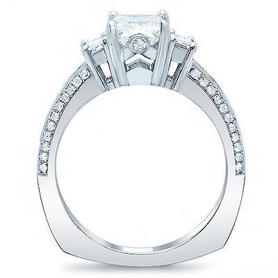 2.20 Ct Emerald Cut & Baguette Diamond Engagement Ring Euro Shank H,VS1 GIA 14K 1