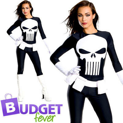 Punisher Ladies Fancy Dress Marvel Comic Book Day Week Womens Adults Costume](Lady Punisher Costume)