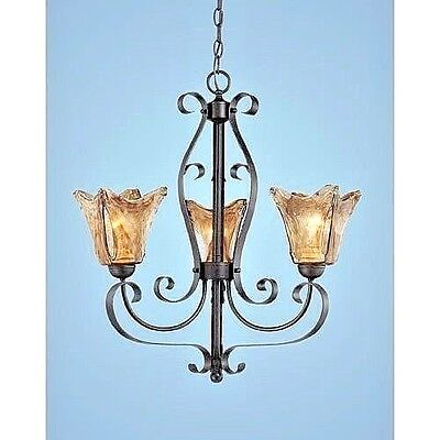 New 3 light Dark Bronze chandelier with amber hand blown glass*