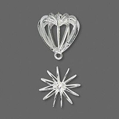 Heart Shaped 14mm Silver Plated Wire Bead Cage Jewelry Links or Drops 2pc
