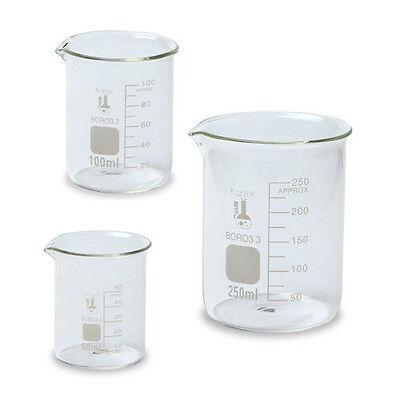 Glass Beaker Set - 3 Sizes - 50, 100 and 250ml, Karter Scientific Lab, chemistry