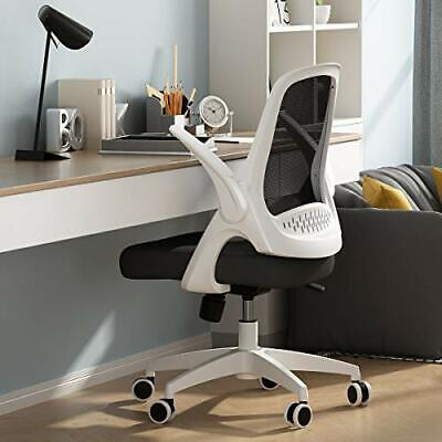 Hbada Office Task Desk Chair Swivel With Flip-up Arms Adjustable Height White