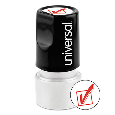 (Universal One-Color Round Message Stamp, CHECK MARK, Pre-Inked/Re-Inkable, Red)