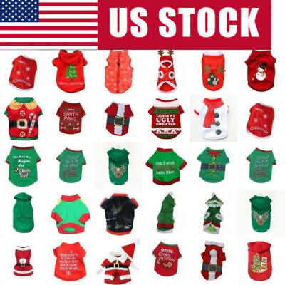 US Pet Christmas T Shirt Dog Cat Winter Warm Hoodie Puppy Clothes Xmas Costume ()