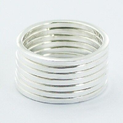 Silver ring stackable design 925 silver stack of 7 rings in each set size 9us