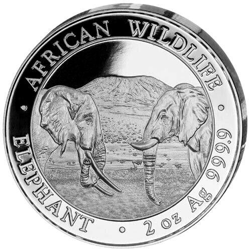 2020 Somalia Elephant 200 Shillings 2 oz Silver 9999 Fine Coin Brilliant UNC+