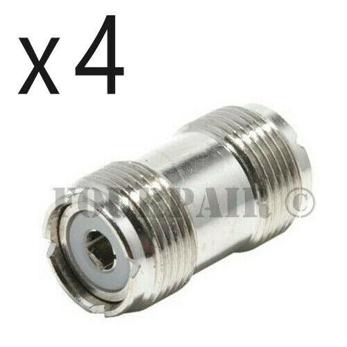 4 Pack - UHF SO-239 Female Coupler RF Adapter Barrel Connector for PL-259 Plugs