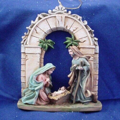 "4"" Holy Family Nativity Ornament Under an Arch by Kurt Adler - C8424"