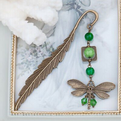 Metal Bookmarker (Antique Dragonfly Bookmark Turquoise Feather Metal Stationery Reading)