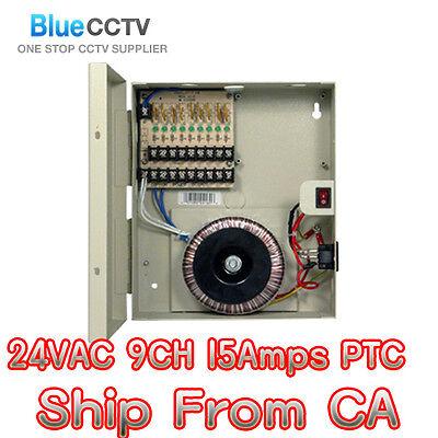 CCTV SECURITY CAMERA POWER Supply Distribution Box 24V AC 9ch 15 Amps PTC Fuse
