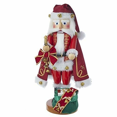 "Kurt Adler Jingle Bells Santa Musical Nutcracker Christmas Décor, 18.5"""