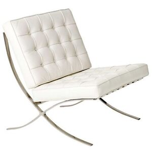 New White Leather Barcelona Chair, polished stainless steel frame Lane Cove West Lane Cove Area Preview