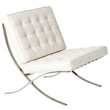 White Leather Barcelona Chair (5 available for $300each Lane Cove West Lane Cove Area Preview