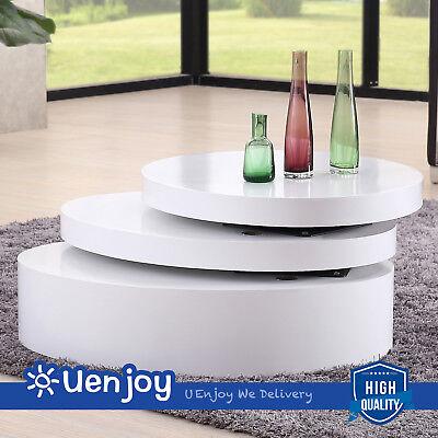 تربيزه جديد White Round Coffee Table Rotating Contemporary Modern Living Room Furniture