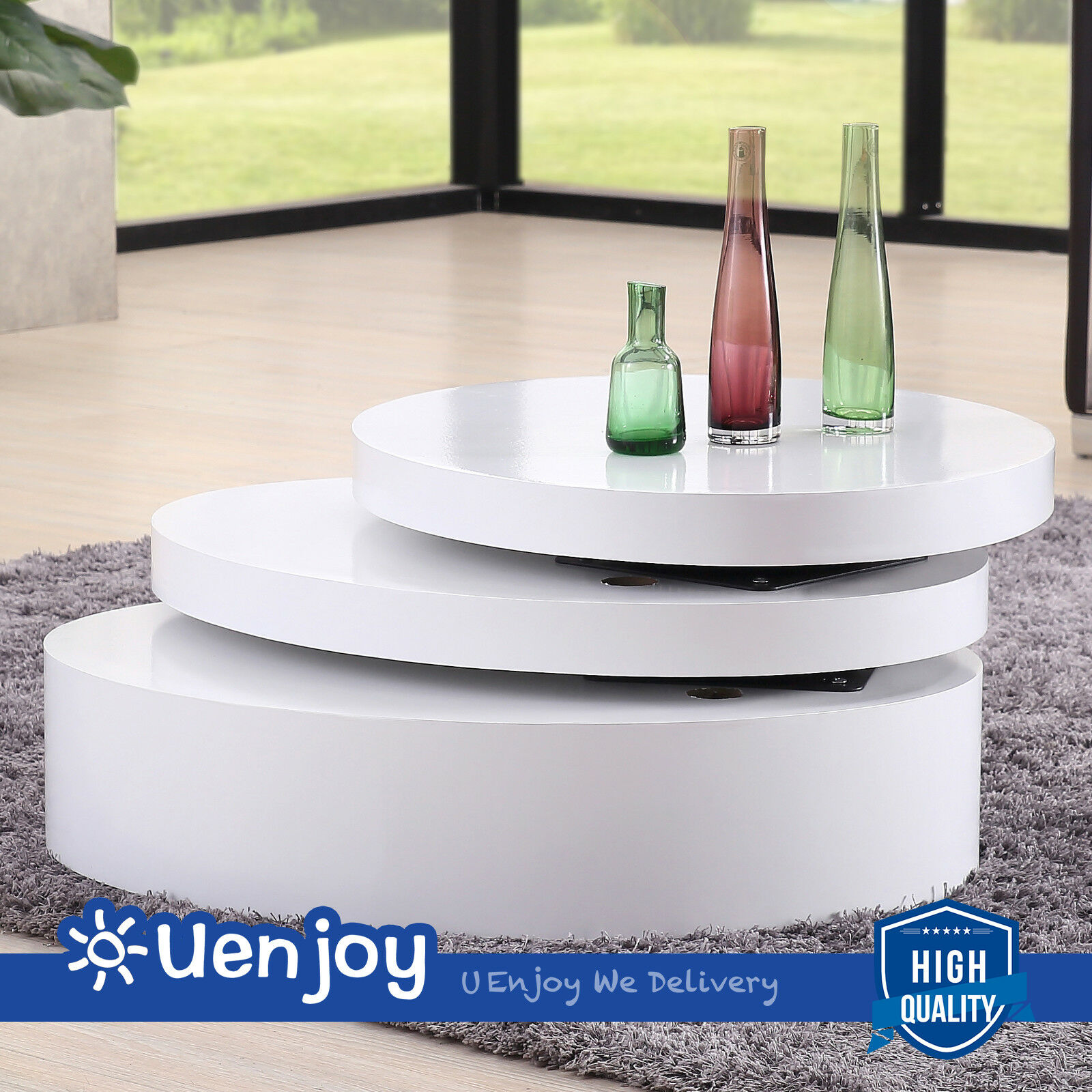 White Round Coffee Table Rotating Contemporary Modern Living Room ...