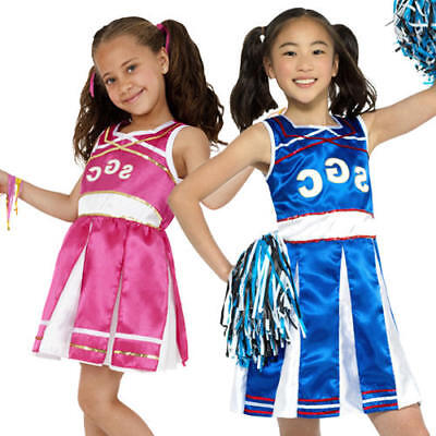 Cheerleader Girls Fancy Dress High School Sports Uniform Kids Costume Outfit  - Sports Costumes For Girls