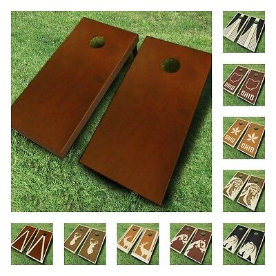 STAINED CORNHOLE BOARDS GAME SET Bean Bag Toss + 8 ACA Regulation Bags ()