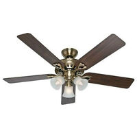 "Hunter Sontera ceiling fan/light (brass) 52"" inc. remote. NEW"