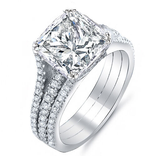 3.25 Ct. Princess Cut Diamond Engagement Ring w/ Round Pave I,VS2 GIA 14K Gold