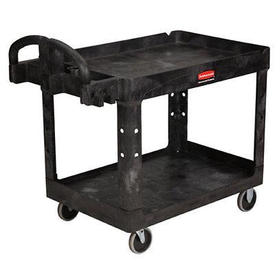 Rubbermaid Fg452088bla Heavy Duty Cart 2 Shelves 45wx26dx33h Black
