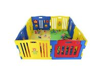 Plastic Baby Playpen with Activity Panel & Floor Mats 8 Sides (used) - c. 5 feet square