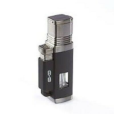 Moretti Churchill Quad Jet Flame Cigar Lighter - Black - New