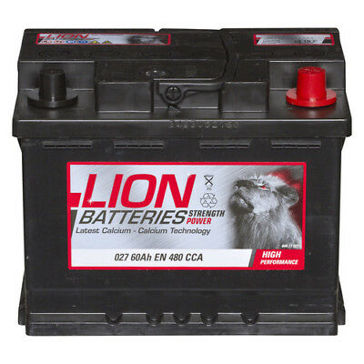 027 Car Battery 3 Years Warranty 60Ah 480cca 12V Electrical - Lion P260_D