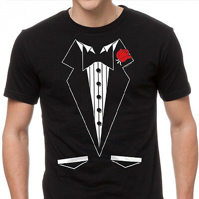BLACK TUXEDO T-SHIRT Funny Wedding Prom Bachelor Party Tee Groom Gift Costume - Bachelor Party Shirts