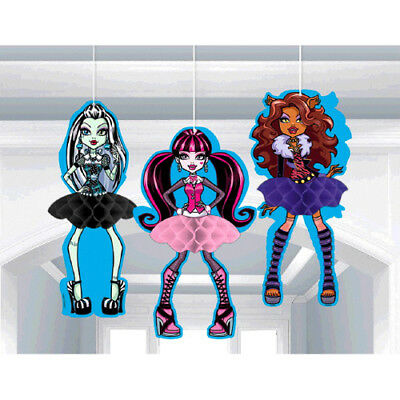 MONSTER HIGH HONEYCOMB DECORATIONS (3) ~ Birthday Party Supplies Hanging - Honeycomb Monster