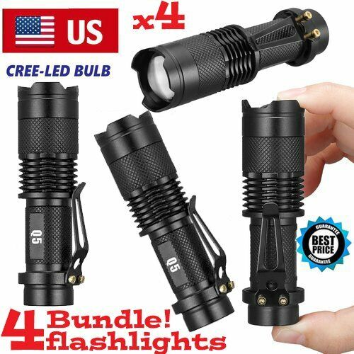 4 Pack 1000Lumens 5 Modes Zoomable LED 14500 Flashlight Torch Lamp Light Camping & Hiking