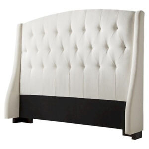 Cream Fabric Tufted Upholstered Wingback Headboard For