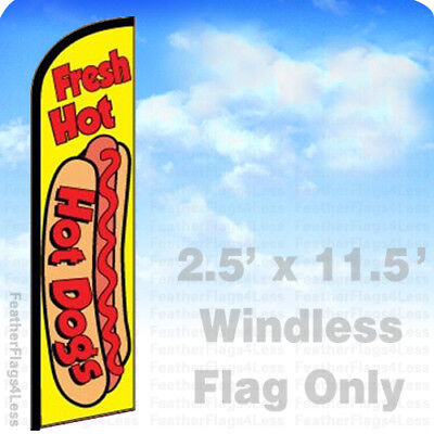 Fresh Hot Dogs - Windless Swooper Flag Feather Banner Sign 2.5x11.5 - Yf