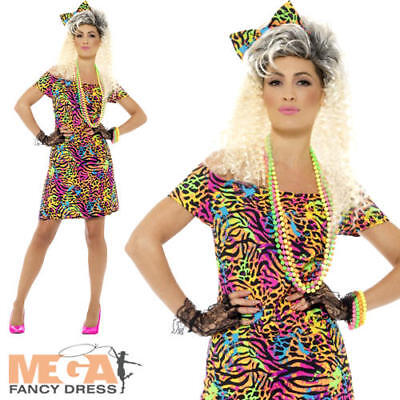 80's Party Animal Ladies Fancy Dress Eighties Neon Retro 1980s Womens Costume